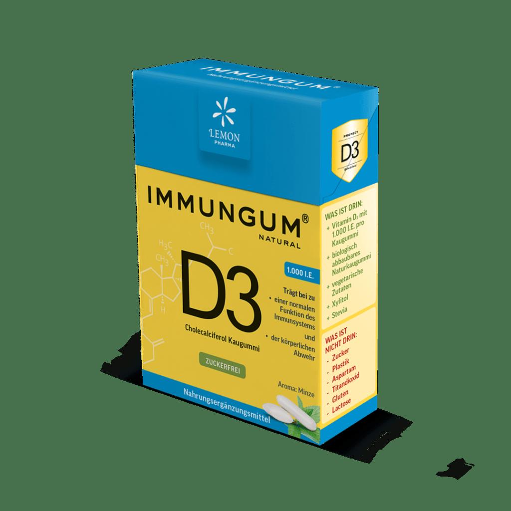 Immungum Immunsystem Kaugummi Vitamin D3 Lemon Pharma